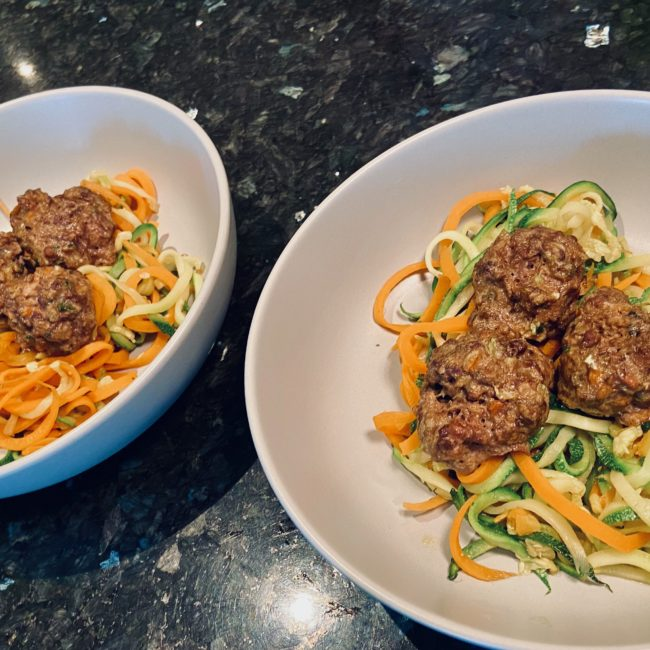 Meatballs and spaghetti for dogs