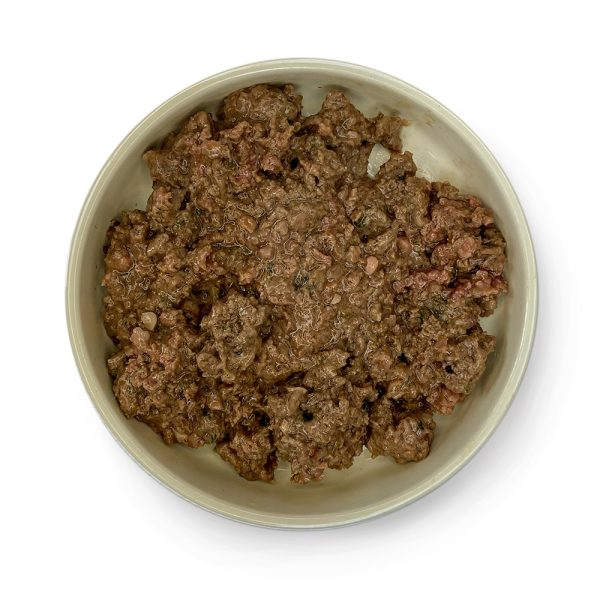 adult cat lamb with pork cooked in a bowl