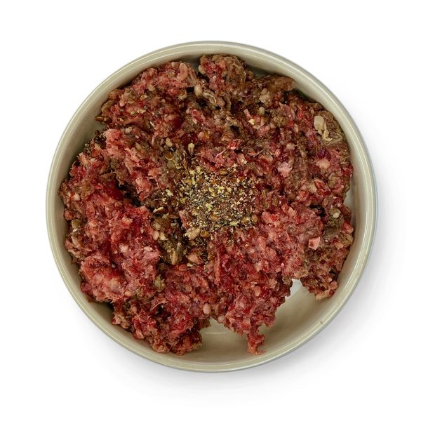 adult cat lamb with beef raw in a bowl
