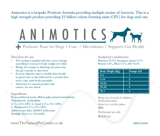 Animotics probiotic paste label